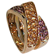 REDUCED Custom 14kt Gold Ladies Amethyst & Citrine Ring