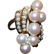 SALE Estate 14K Gold Cultured Pearl Cluster Ring