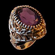SALE Ornate 14kt Gold Ladies 7.86 Carat Amethyst Ring