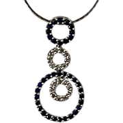 SALE Estate 14kt Gold Sapphire Diamond Eternity Necklace