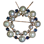 SALE Sapphire, Diamond & Cultured Pearl 14k Gold Eternity Brooch