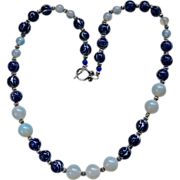 REDUCED Asian Blue White Porcelain / Moonstone Beaded Necklace