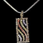 Lovely 14k Gold 2.64 Carats Precious Stones & Diamond Pendant