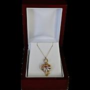 SALE French Victorian 14K Gold Fleur de Lis Heart Pendant Necklace