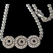 SALE Estate 18K Gold Diamond Trilogy Necklace
