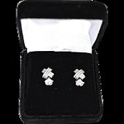 REDUCED Elegant Ladies 18K Gold White Topaz Drop Earrings