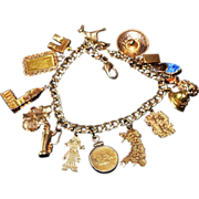 SALE Estate Travel Charm Bracelet 14kt, 18kt, 24kt Gold