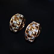 REDUCED Estate 14kt Gold Checkerboard Huggie Diamond  Earrings