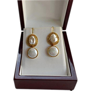 Estate 18K Gold Large Baroque & Mabe Pearl Drop Earrings