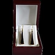 Vintage 14K Gold Jet Glass Dangle Earrings