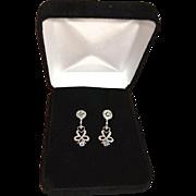 REDUCED Elegant 10K Gold Diamond, Gemstone Chandelier Earrings