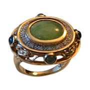 REDUCED Estate 14k Gold Jadeite, Diamond & Gemstone Ring