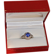 SALE Victorian-Style 14K Gold Diamond Chatham Sapphire Engagement Ring