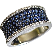 SOLD Estate 14K Gold Micropave Sapphire Diamond Ring