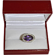 SALE Modernist 14K Gold Oval Amethyst & Diamond Pave' Ring