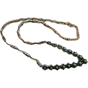REDUCED Wedding Keepsake Emeralds, White Topaz Rosette Sterling Necklace