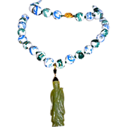 REDUCED Chinese Export Hand Painted Dragon Necklace Jade Pendant