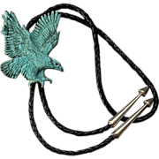 SOLD Large Native American Carved Natural Turquoise Soaring Eagle Bolo Necklace