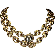 REDUCED Estate 14K Gold Italian Gucci Style Puffy Link Necklace / Two In One