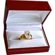 Stunning 4 Ct CZ Sparkler 10k Gold Plate Sterling Ring