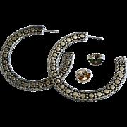 REDUCED Custom Sterling Silver Large Open Hoop Earrings By John Hardy
