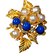 REDUCED Vintage Ivana Trump Gold Plated Simulated Pearl Brooch / Pendant
