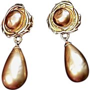Lushious Vintage Karl  Lagerfeld Faux- Pearl Gold Dangle Earrings