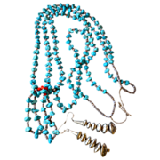 REDUCED Southwest Pueblo Joclas Turquoise Double Strand Nugget Beaded Necklace