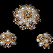 SALE SCHIAPARELLI  Floral Cluster Imitation Pearl & Rhinestone Cluster Pendant & Earrings