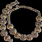 REDUCED 50's Schiaparelli Aura Borealis Chaton Cut Rhinestone Ribbed Necklace Set