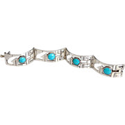Sterling Silver Mexico Cut Out Turquoise Cabochon Bracelet