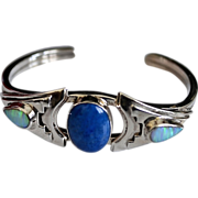 SALE Native American Sterling Lapis Opal Cuff Bracelet