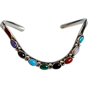 SALE Southwest Sterling Multi-Colored Gemstone Bracelet