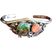 SALE Navajo Artist Justin Morris Sterling Silver Gemstone Cuff Bracelet