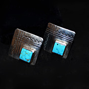 SALE Southwestern Artisan Sterling Natural Turquoise Stone Earrings