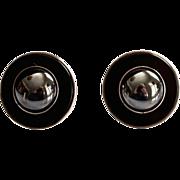 SALE Deco Style Sterling Black Onyx Hematite Sterling Earrings