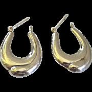 SALE Sterling Silver Pierced Modernist Hoop Earrings