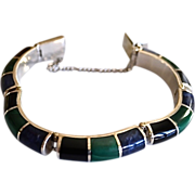 SALE Chunky Sodalite Malachite Onyx and  Sterling Inlay Bracelet