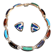 SALE Vintage Taxco Sterling Silver Multi-Colored Inlay Gemstone Necklace Set