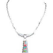 SALE Vintage Multi-Gemstone Sterling Silver ZUNI Pendant Necklace