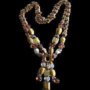 REDUCED Vintage 14K Gold Plated Multi-Gemstone Lariat Tassle Necklace