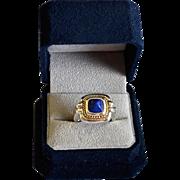 SALE Modernist Lapis Sterling Silver 18K Gold Ring