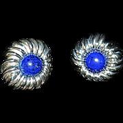 Tiffany & Co Sterling Lapis Chrysanthemum Earrings