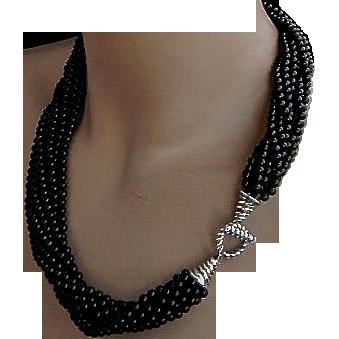 Tiffany & Co Sterling Onyx Interlocking Torsade Necklace