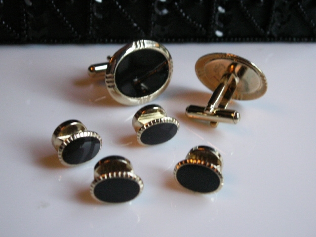Black Tie Affair: Black & Gold Tone Cuff Links & Stud Set