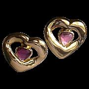 REDUCED Yves SAINT LAURENT 10kt Gold Plate French Amethyst Glass Heart Earrings