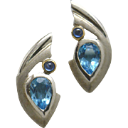 """REDUCED Very Nice """"Stylized"""" Estate Sterling/Vermeil Earrings with Cabochon Sapphire"""