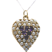 Late Victorian ~12K Rose/Yellow Gold Heart Pendant with Cultured Pearls and Amethyst