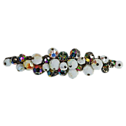 Beautiful long brooch iridescent white glass beads & AB beads