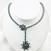 "Designer signed ""GARNE"" rhinestone offset flowers Turquoise & Amethyst"